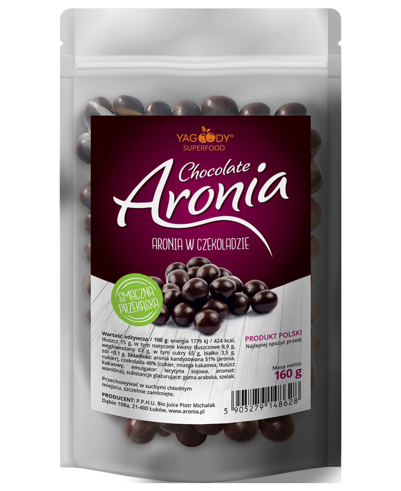 Organic Dried Aronia Berries in Chocolate